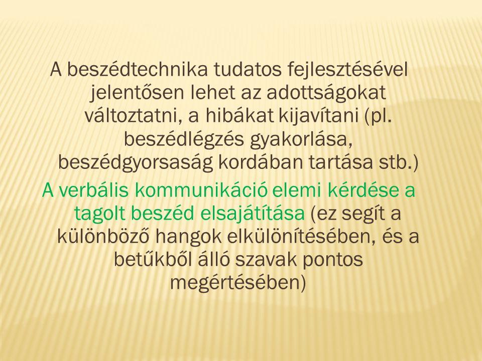 A beszédtechnika tudatos fejlesztésével jelentősen lehet az adottságokat változtatni, a hibákat kijavítani (pl.