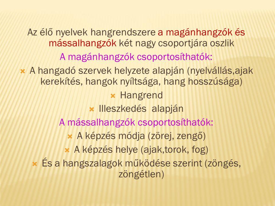 A magánhangzók csoportosíthatók:
