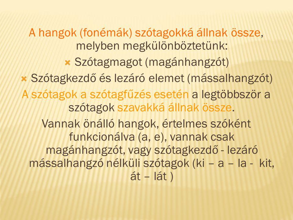 A hangok (fonémák) szótagokká állnak össze, melyben megkülönböztetünk: