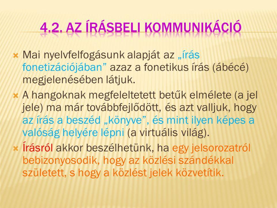 4.2. Az írásbeli kommunikáció