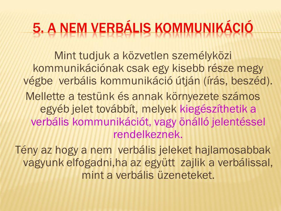 5. A nem verbális kommunikáció