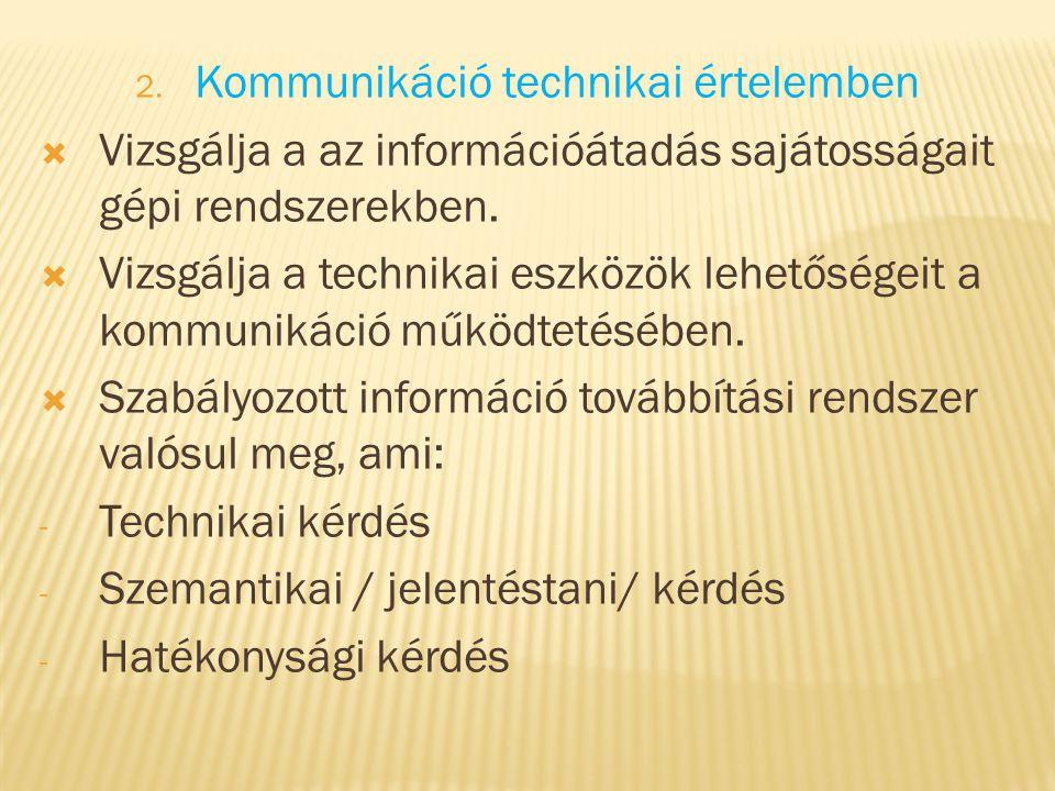 Kommunikáció technikai értelemben