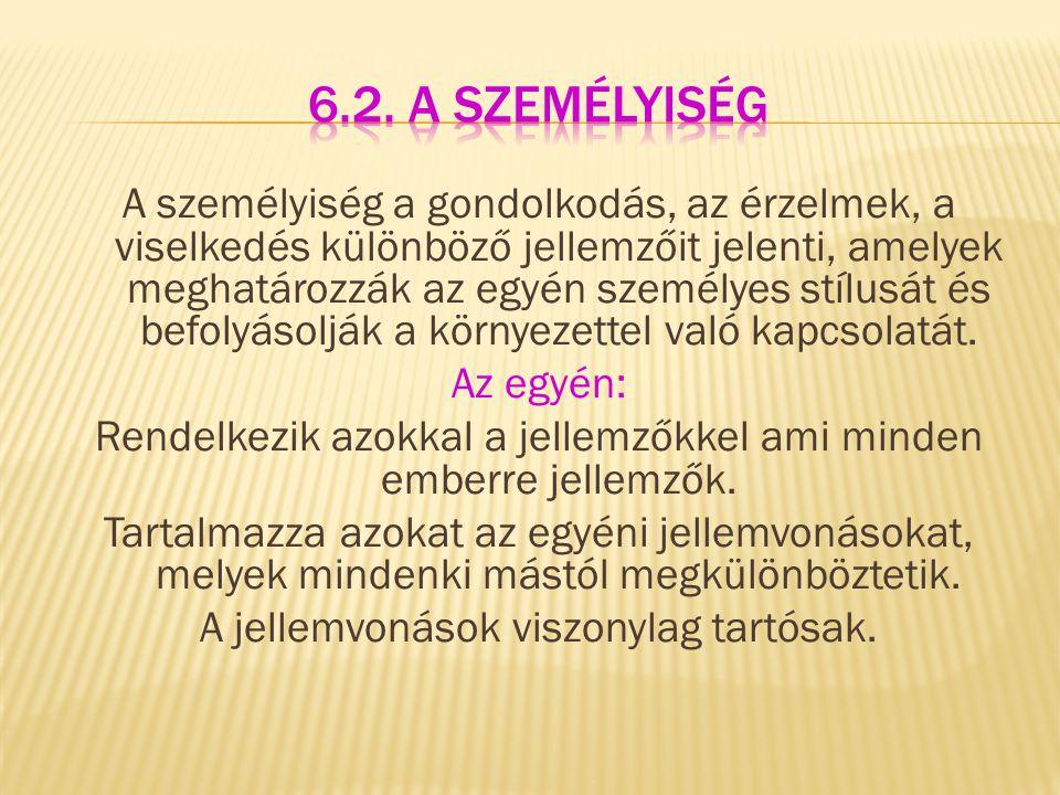 6.2. A személyiség