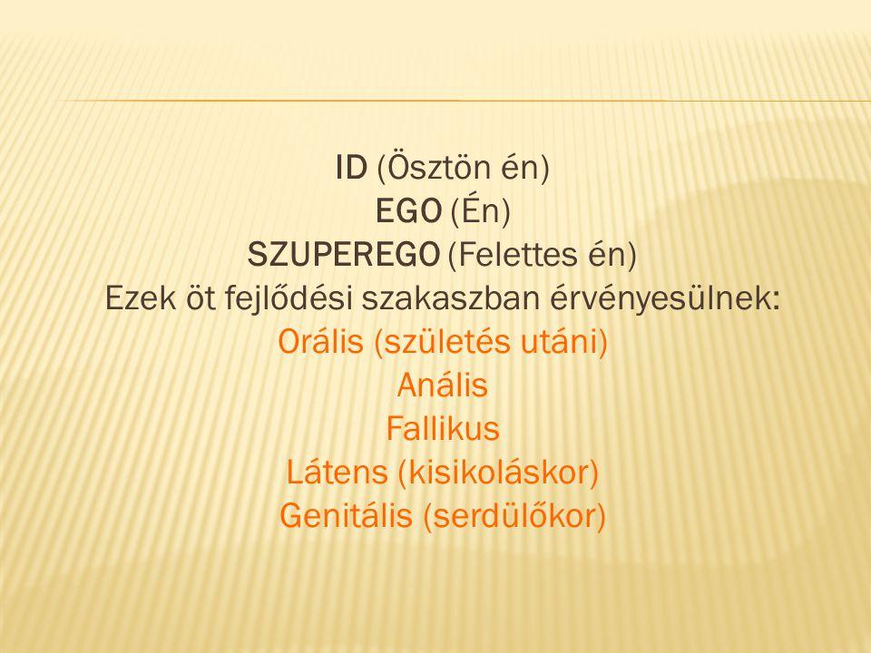 ID (Ösztön én) EGO (Én) SZUPEREGO (Felettes én) Ezek öt fejlődési szakaszban érvényesülnek: Orális (születés utáni) Anális Fallikus Látens (kisikoláskor) Genitális (serdülőkor)