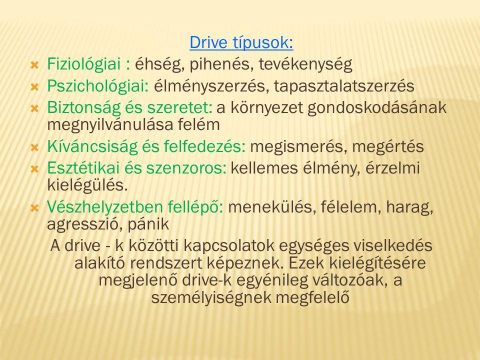Drive típusok: Fiziológiai : éhség, pihenés, tevékenység. Pszichológiai: élményszerzés, tapasztalatszerzés.