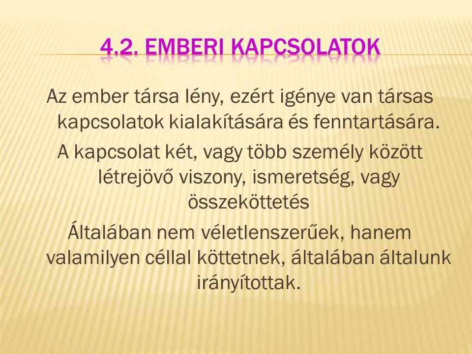 4.2. Emberi kapcsolatok