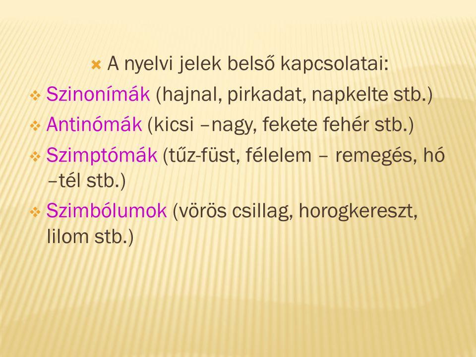 A nyelvi jelek belső kapcsolatai: