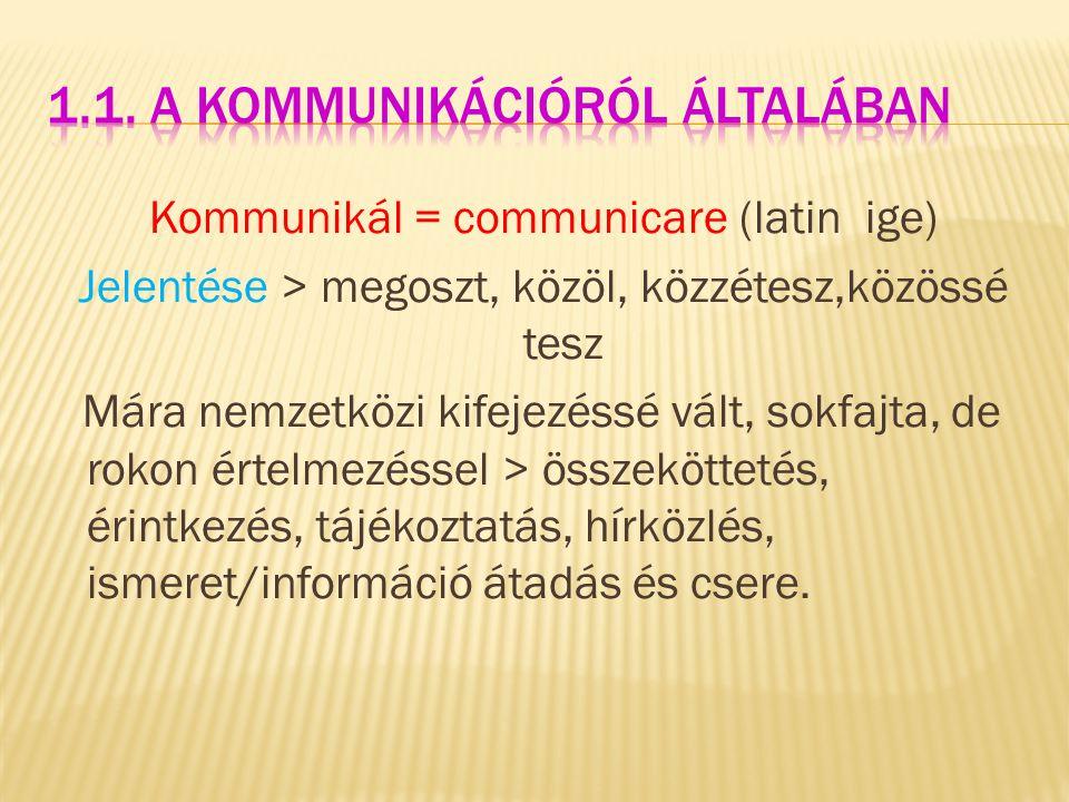 1.1. A kommunikációról általában