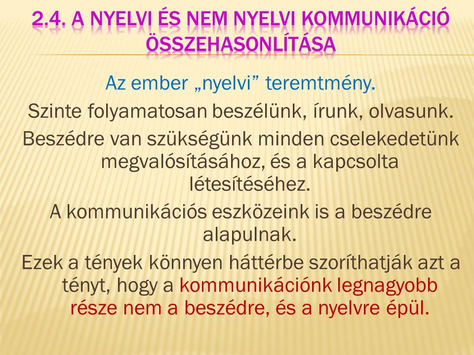 2.4. A nyelvi és nem nyelvi kommunikáció összehasonlítása