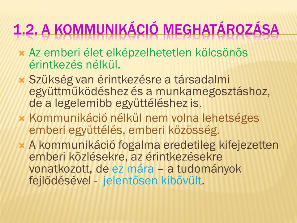 1.2. A kommunikáció meghatározása