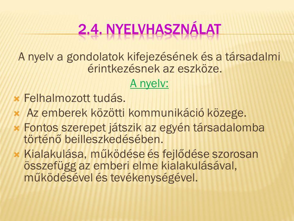 2.4. Nyelvhasználat A nyelv a gondolatok kifejezésének és a társadalmi érintkezésnek az eszköze. A nyelv: