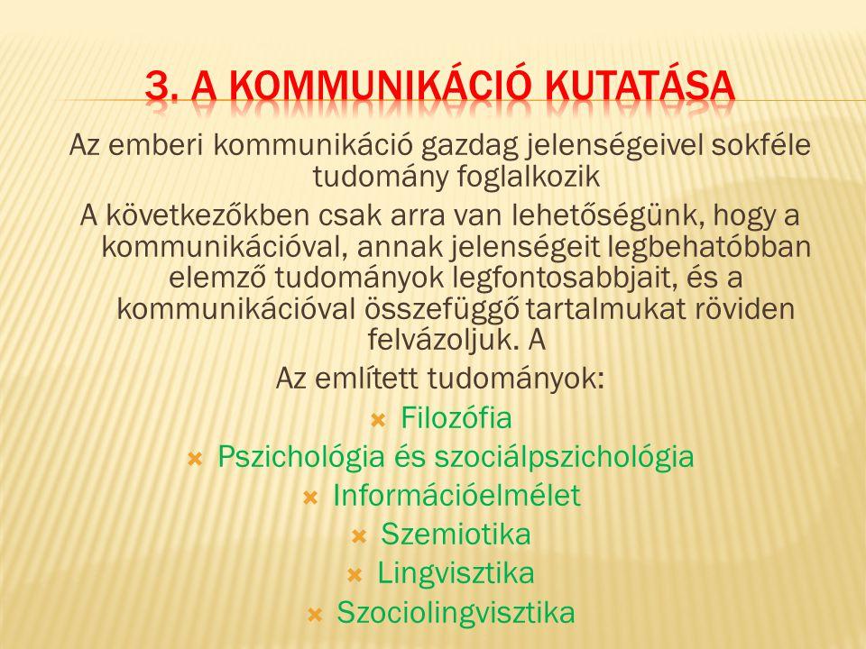 3. A kommunikáció kutatása