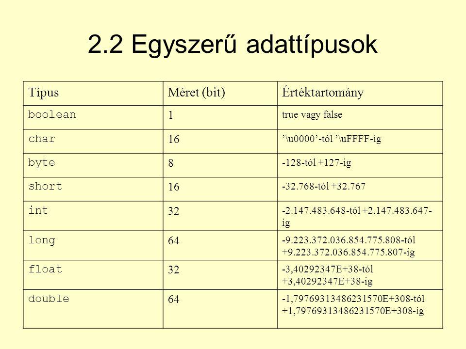 2.2 Egyszerű adattípusok Típus Méret (bit) Értéktartomány boolean 1