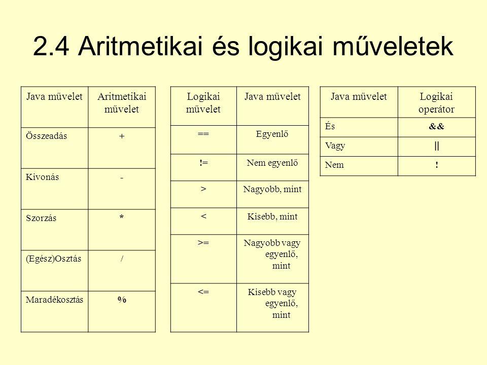 2.4 Aritmetikai és logikai műveletek