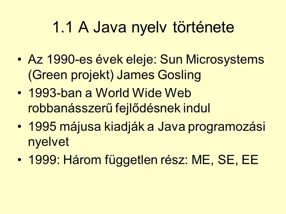 1.1 A Java nyelv története Az 1990-es évek eleje: Sun Microsystems (Green projekt) James Gosling.