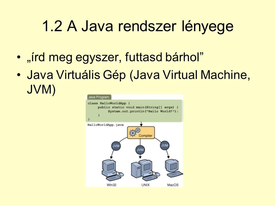 1.2 A Java rendszer lényege