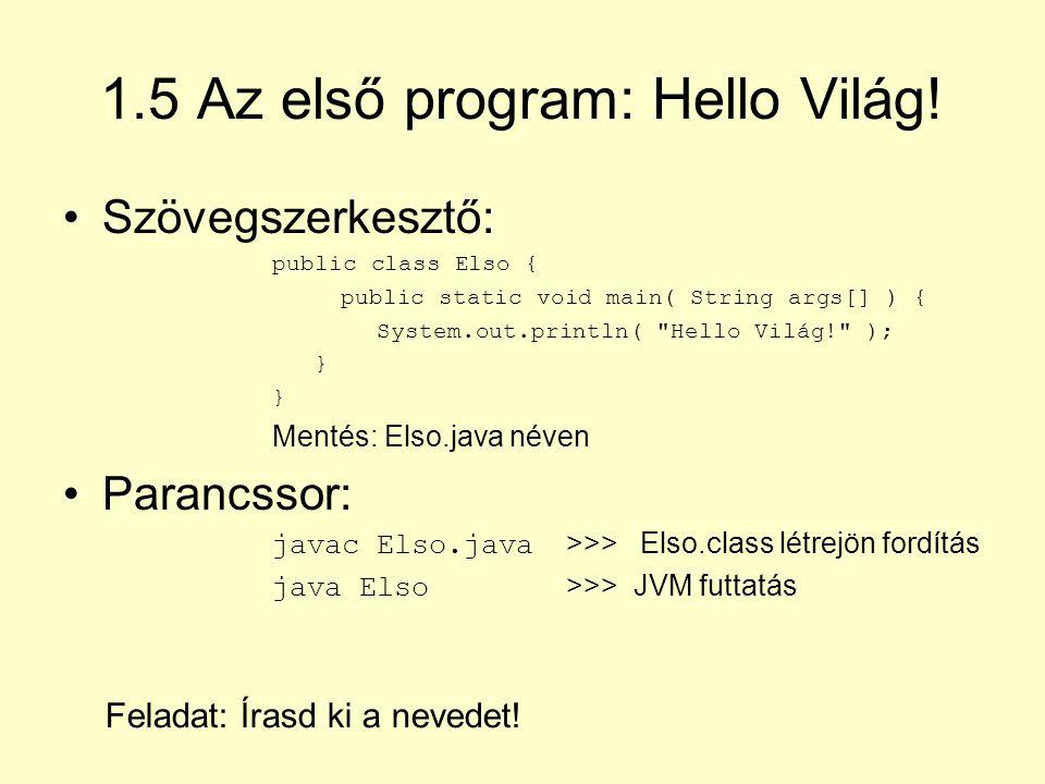 1.5 Az első program: Hello Világ!