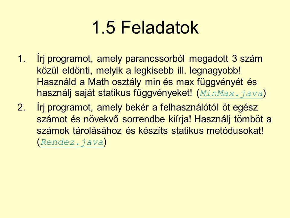 1.5 Feladatok