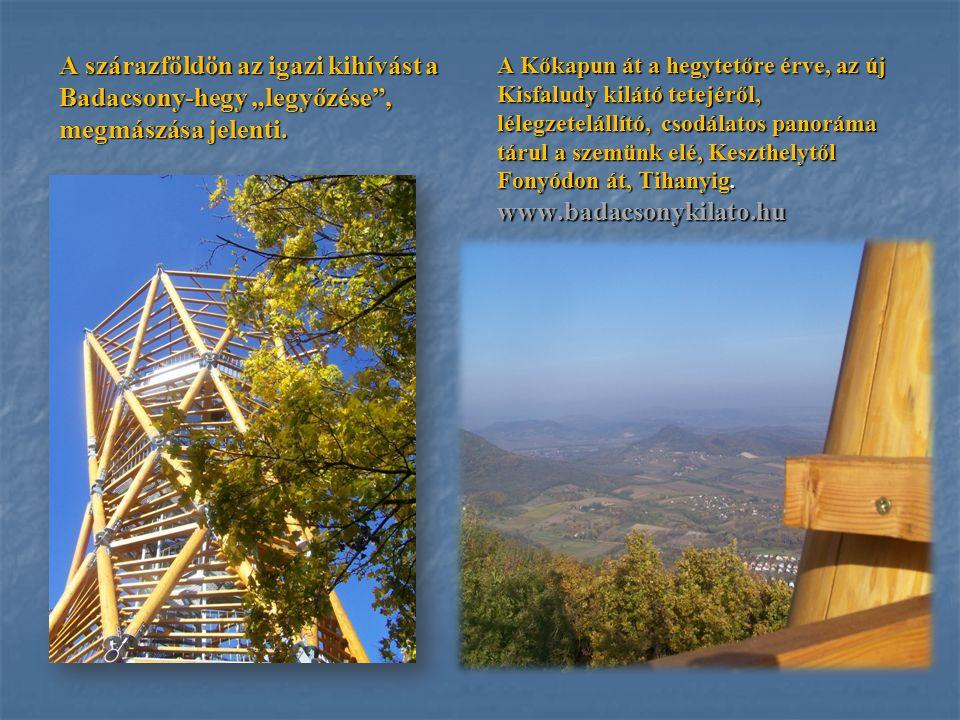 """A szárazföldön az igazi kihívást a Badacsony-hegy """"legyőzése , megmászása jelenti."""