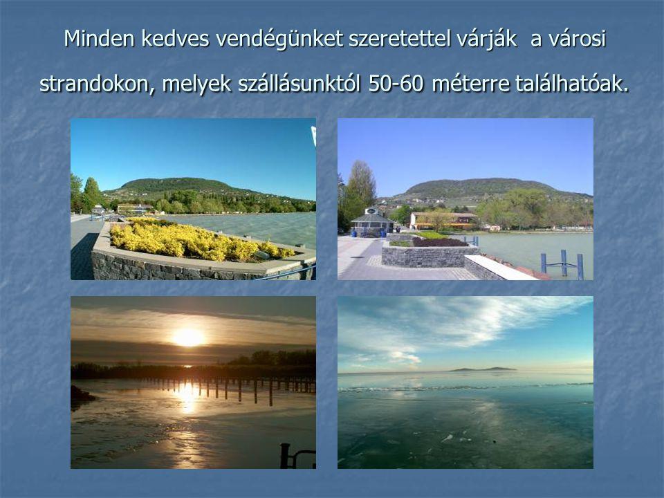 Minden kedves vendégünket szeretettel várják a városi strandokon, melyek szállásunktól 50-60 méterre találhatóak.