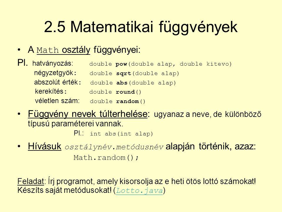 2.5 Matematikai függvények
