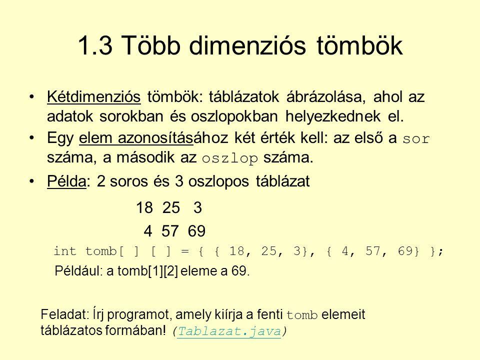 1.3 Több dimenziós tömbök Kétdimenziós tömbök: táblázatok ábrázolása, ahol az adatok sorokban és oszlopokban helyezkednek el.