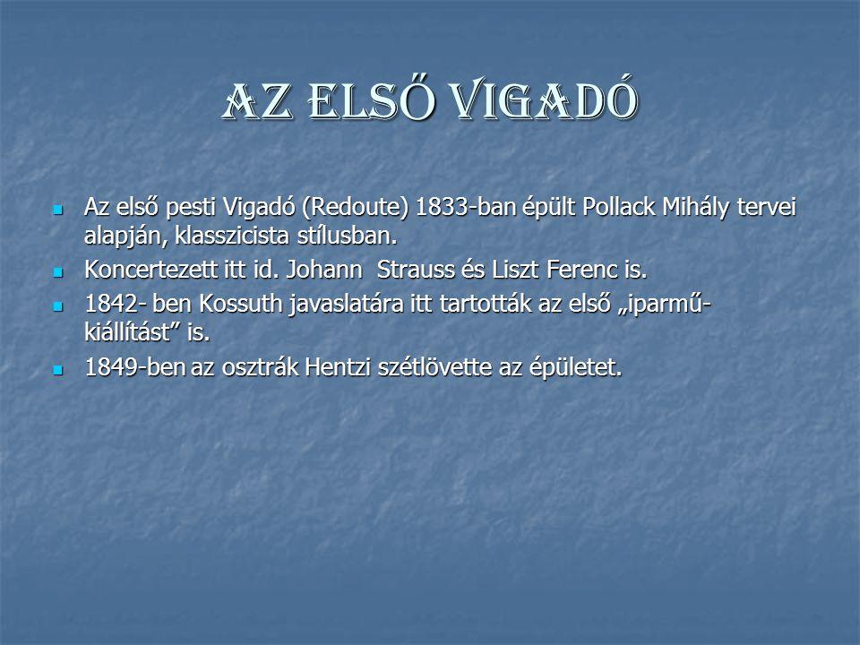 AZ ELSŐ VIGADÓ Az első pesti Vigadó (Redoute) 1833-ban épült Pollack Mihály tervei alapján, klasszicista stílusban.