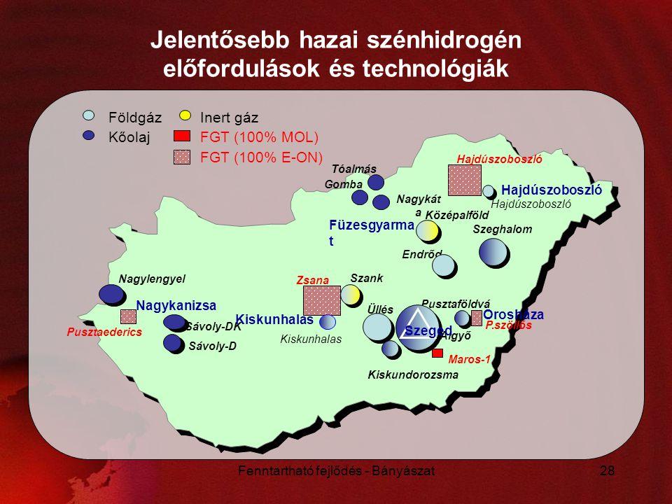 Jelentősebb hazai szénhidrogén előfordulások és technológiák