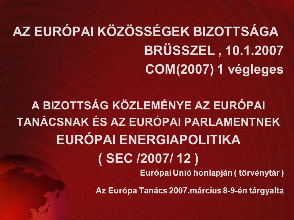 EURÓPAI ENERGIAPOLITIKA ( SEC /2007/ 12 )
