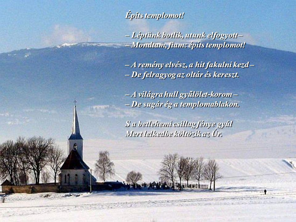 Építs templomot! – Léptünk botlik, utunk elfogyott – – Mondtam, fiam: építs templomot! – A remény elvész, a hit fakulni kezd –