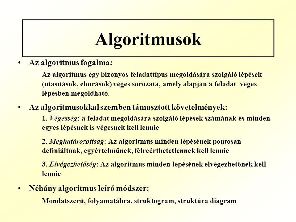 Algoritmusok Az algoritmus fogalma: