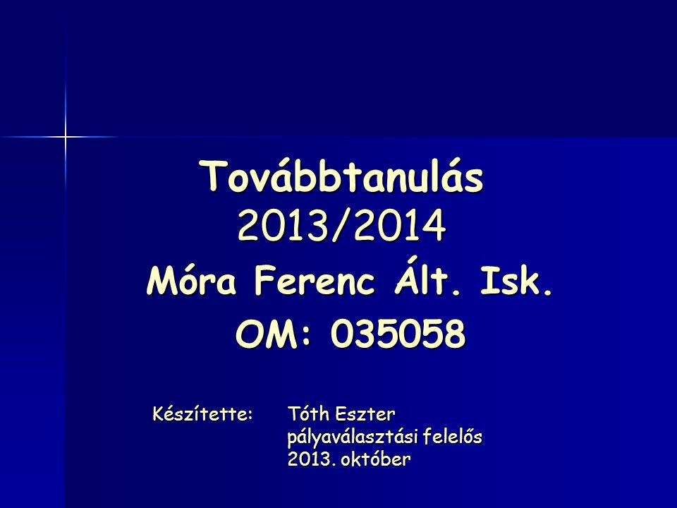 Továbbtanulás 2013/2014 Móra Ferenc Ált. Isk. OM: 035058