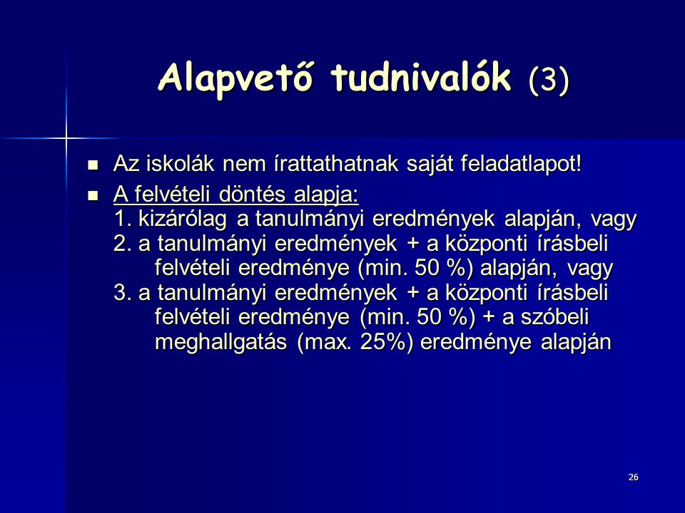 Alapvető tudnivalók (3)