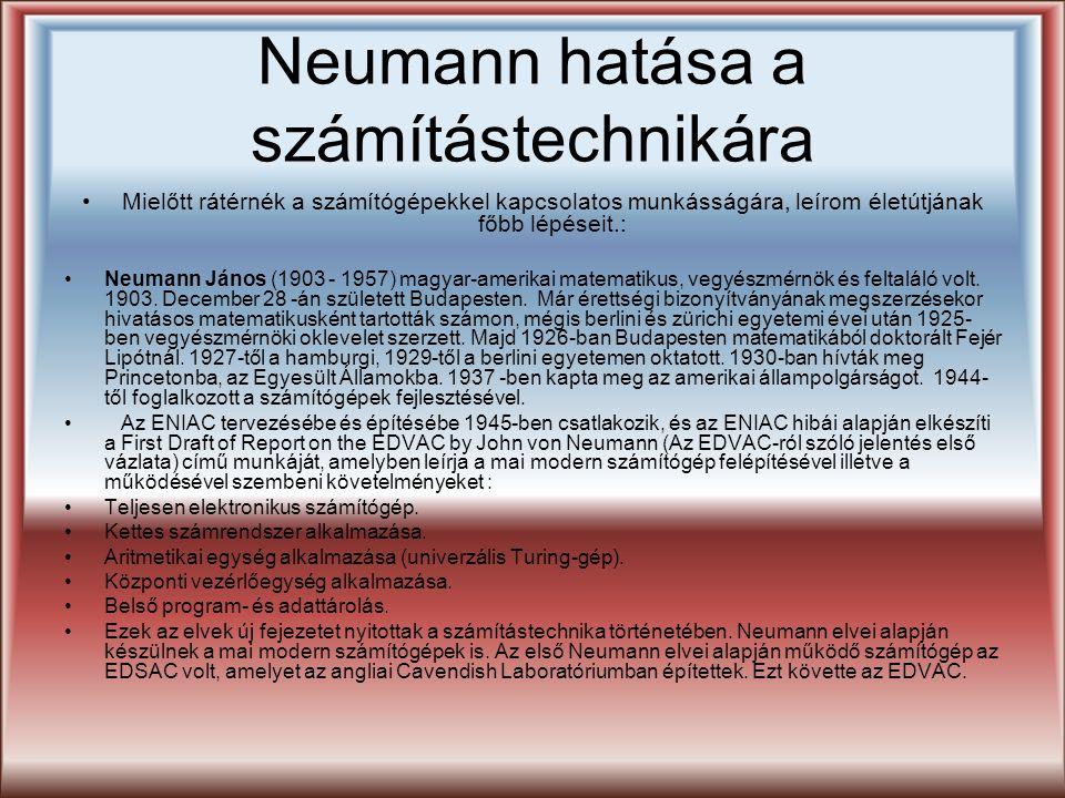 Neumann hatása a számítástechnikára