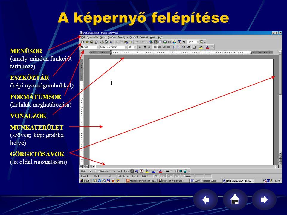 A képernyő felépítése MENÜSOR (amely minden funkciót tartalmaz)