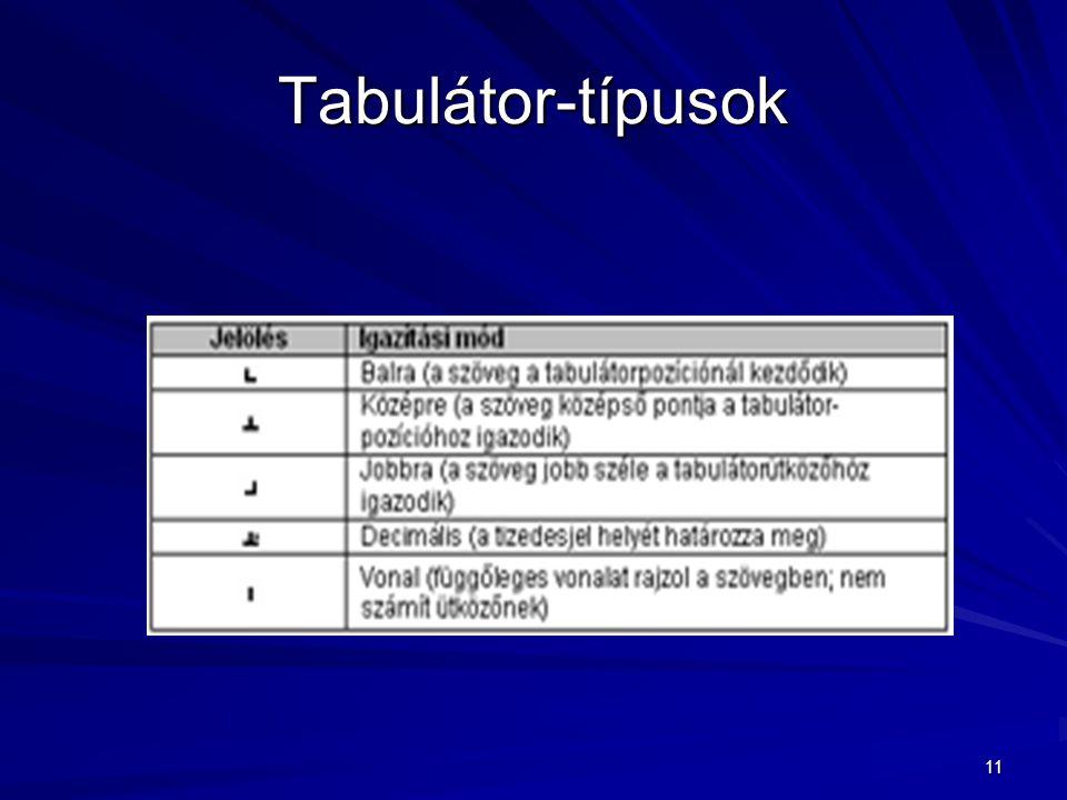 Tabulátor-típusok