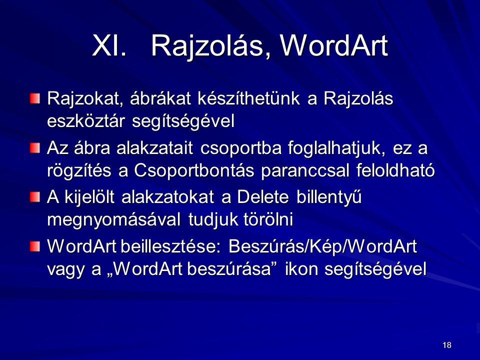Rajzolás, WordArt Rajzokat, ábrákat készíthetünk a Rajzolás eszköztár segítségével.