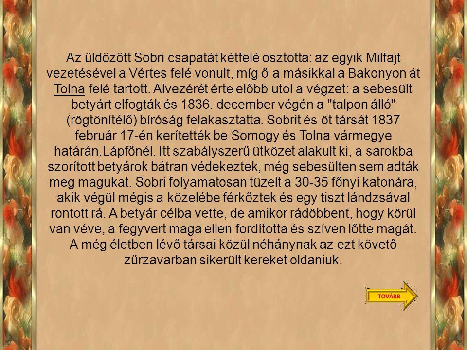 Az üldözött Sobri csapatát kétfelé osztotta: az egyik Milfajt vezetésével a Vértes felé vonult, míg ő a másikkal a Bakonyon át Tolna felé tartott.