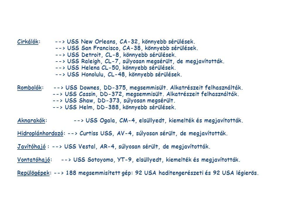 Cirkálók: --> USS New Orleans, CA-32, könnyebb sérülések