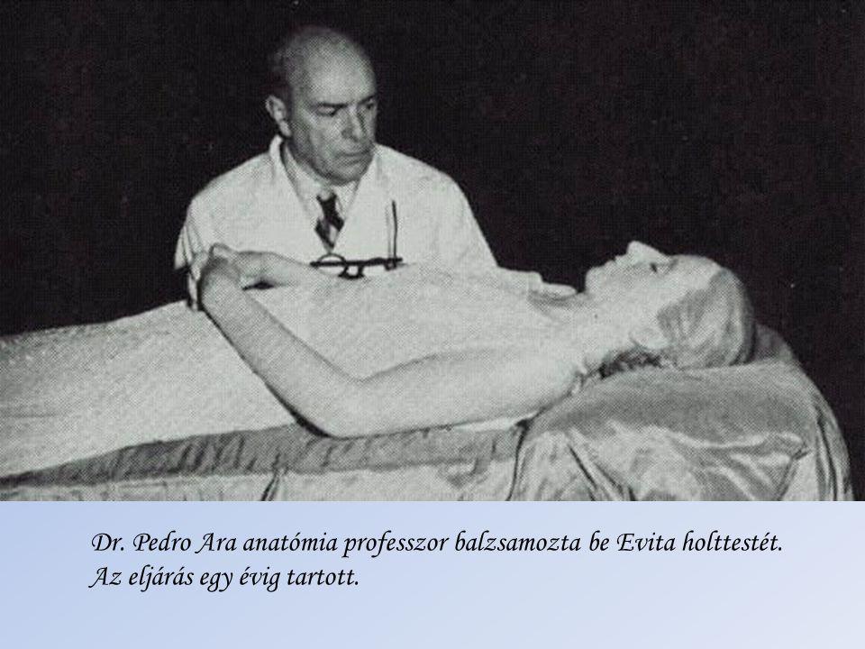 Dr. Pedro Ara anatómia professzor balzsamozta be Evita holttestét.