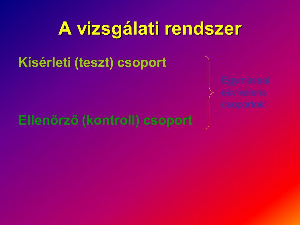 A vizsgálati rendszer Kísérleti (teszt) csoport