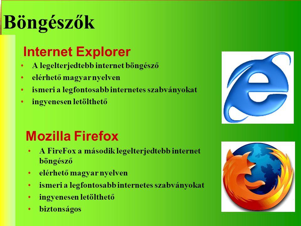 Böngészők Internet Explorer Mozilla Firefox