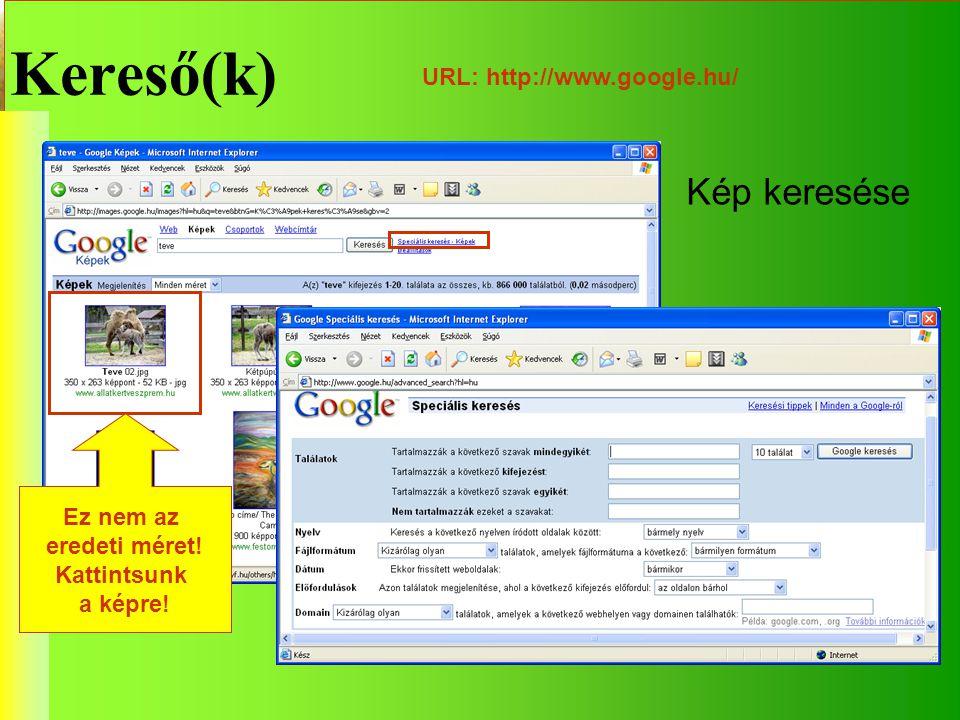 Kereső(k) Kép keresése URL: http://www.google.hu/