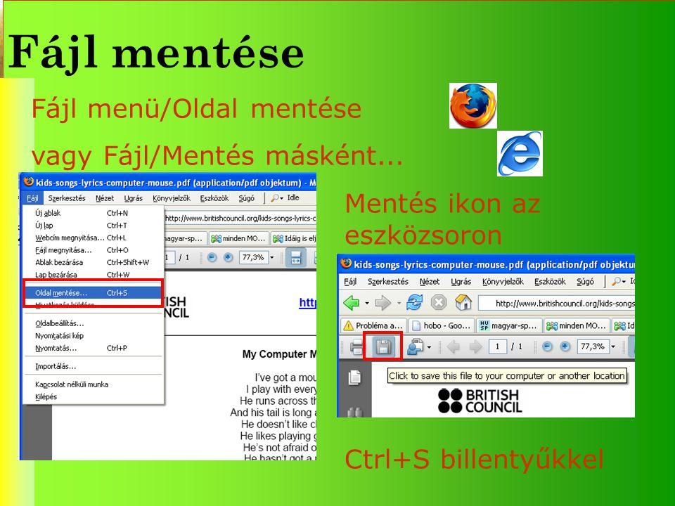Fájl mentése Fájl menü/Oldal mentése vagy Fájl/Mentés másként...