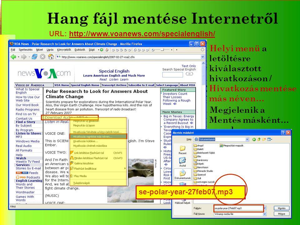Hang fájl mentése Internetről