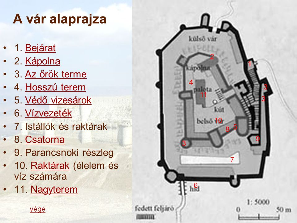 A vár alaprajza 1. Bejárat 2. Kápolna 3. Az őrök terme 4. Hosszú terem
