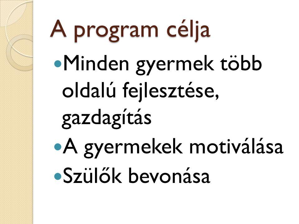 A program célja Minden gyermek több oldalú fejlesztése, gazdagítás