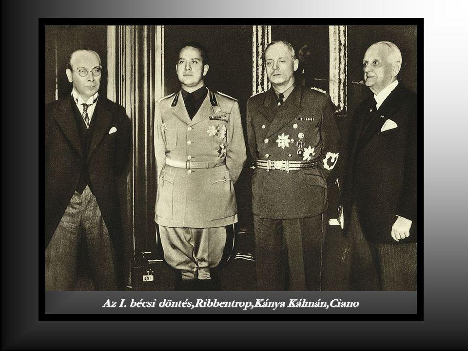 Az I. bécsi döntés,Ribbentrop,Kánya Kálmán,Ciano