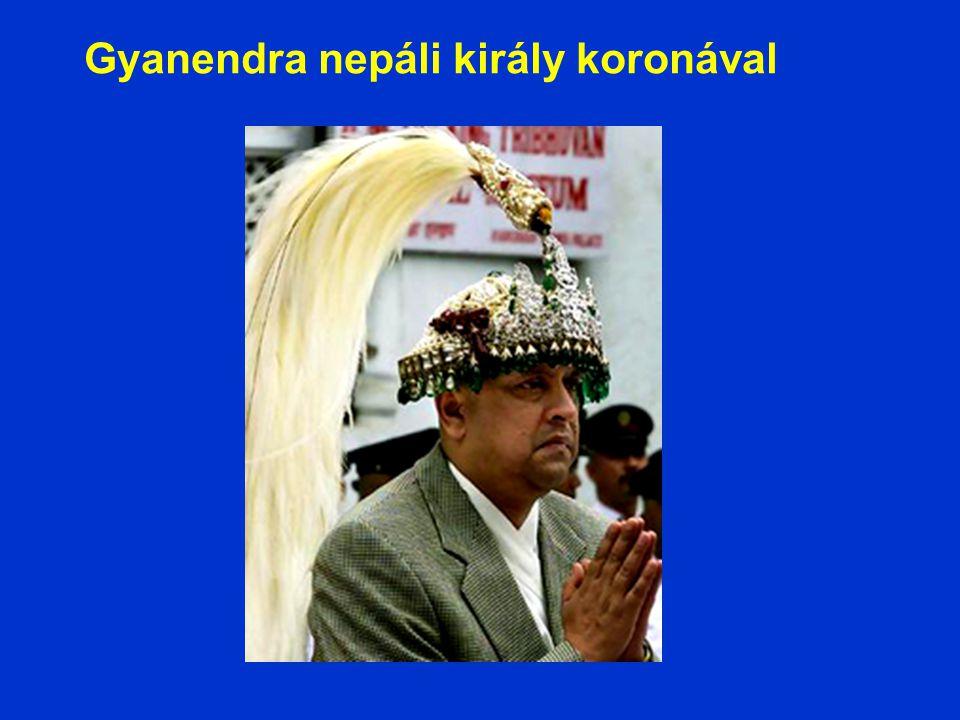 Gyanendra nepáli király koronával