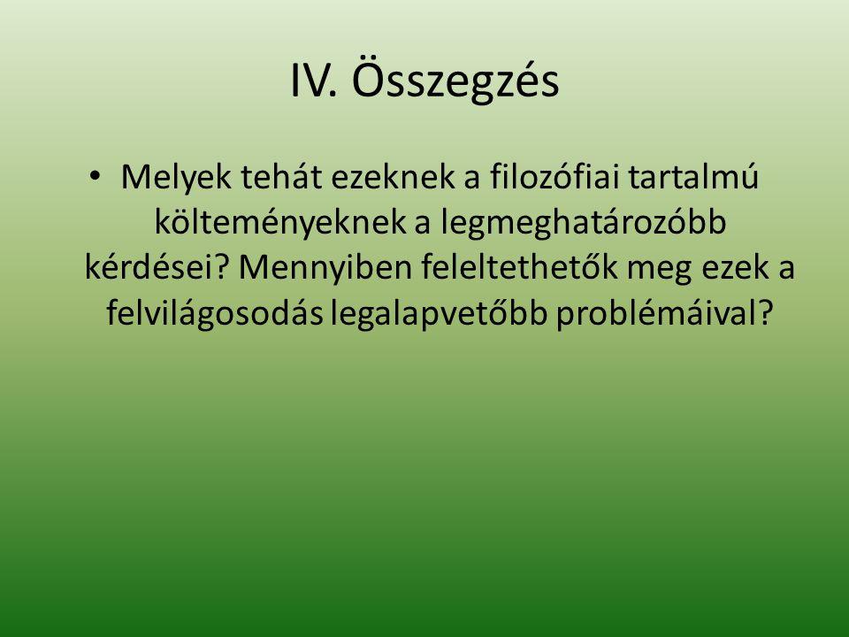IV. Összegzés